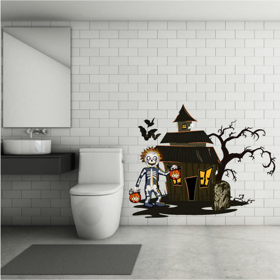 Haunted House with Trick or Treater Printed Die Cut Decal