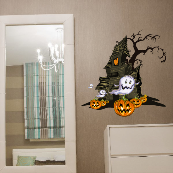 Haunted House with Ghosts Printed Die Cut Decal