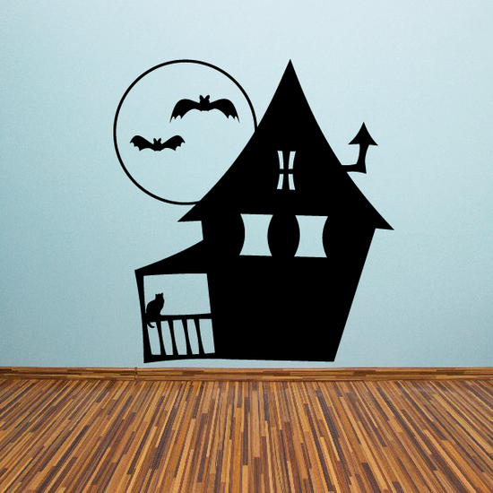 Multi Window Haunted House with Porch Decal