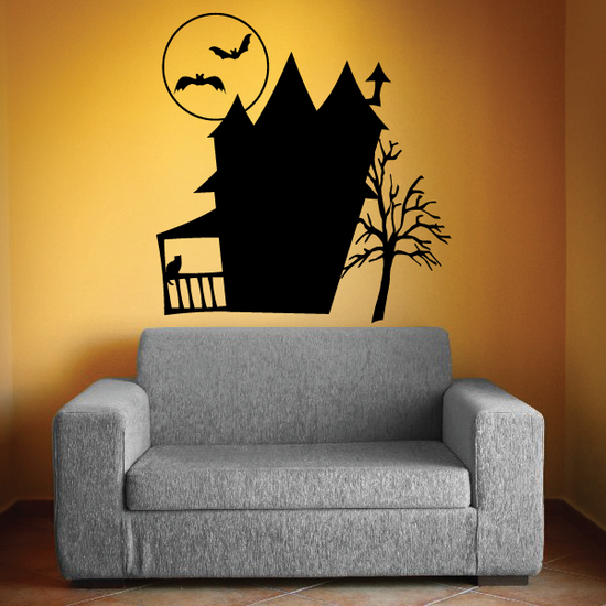 Halloween Haunted house with Bat Moon Decal