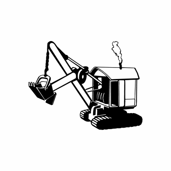 Steam Powered Excavator Decal