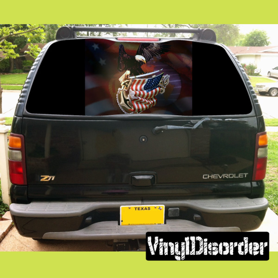 American Pride Rear Window View Through Graphic Og006