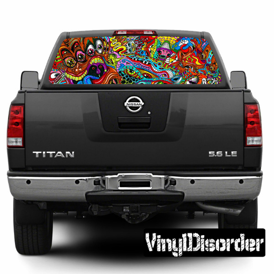 Psychedelic Rear Window View Through Graphic Og003