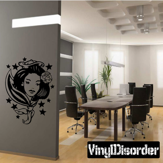 Woman with Rose in her Hair Tattoo Decal