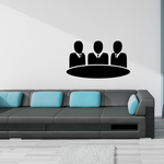 Business Men Sitting at a Table Business Icon Wall Decal - Vinyl Decal - Car Decal - Id010