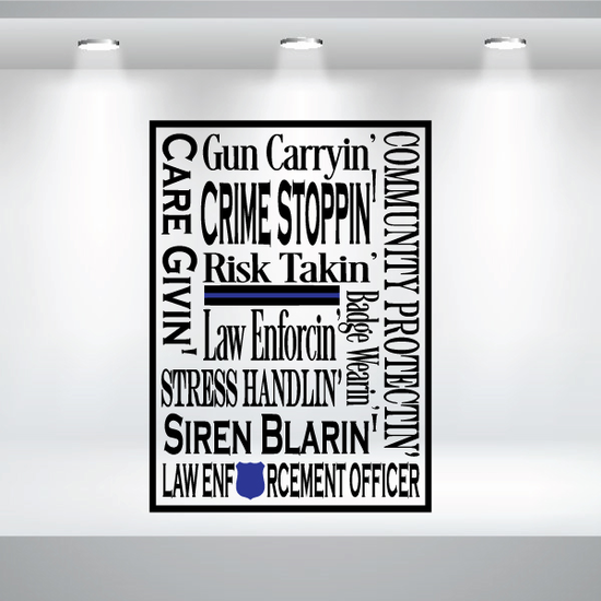 Law Enforcement Word Collage Decal