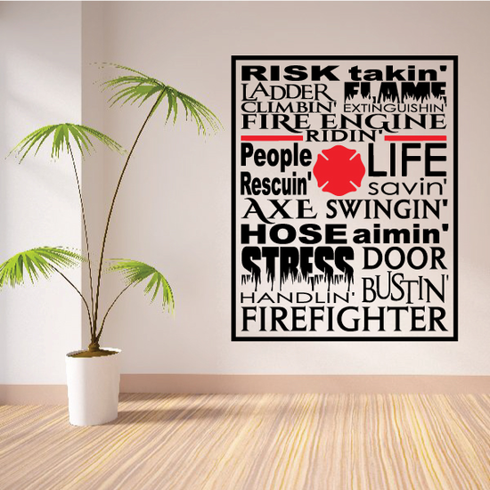 Firefighter Word Collage Decal