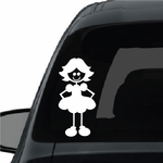 Girl with Curled Hair and Hands Behind Dress Decal