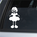 Girl with Combed Hair and Hands Behind Dress Decal