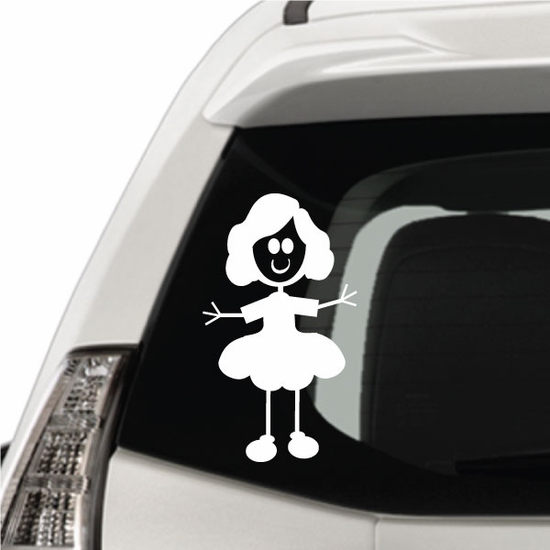 Girl with Wavy Hair and Arms Out Decal
