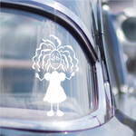 Girl with Long Curls and Frowning Decal