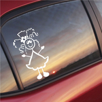 Girl with Frazzle Hair and Arms Out Decal