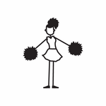 Cheerleading Girl Both Arms Out Decal