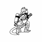 Fireman in action Decal