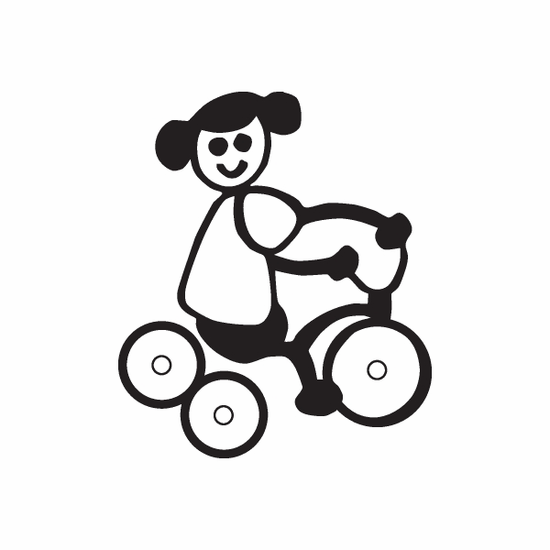 Girl on Tricycle Decal