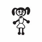 Girl with Side Pigtails Decal