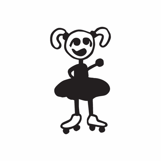 Girl with Pigtails and Waving Left Arm Decal