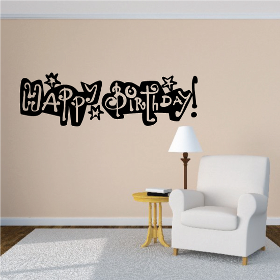 Happy Birthday Text with Stars Decal