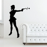 Woman Shooting Flower Decal