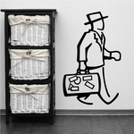 Man Carrying Briefcase Wall Decal - Vinyl Decal - Car Decal - Business Decal - MC44