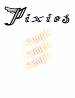 Pixies Simple Wing Text Decal
