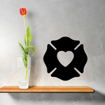Firefighter Heart Silhouette Decal
