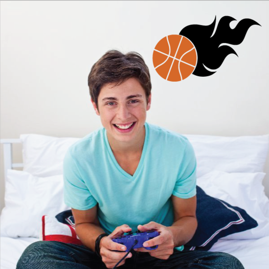 Basketball On Fire Decal
