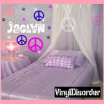 16 Peace Sign Wall Decals Kit with Custom Name