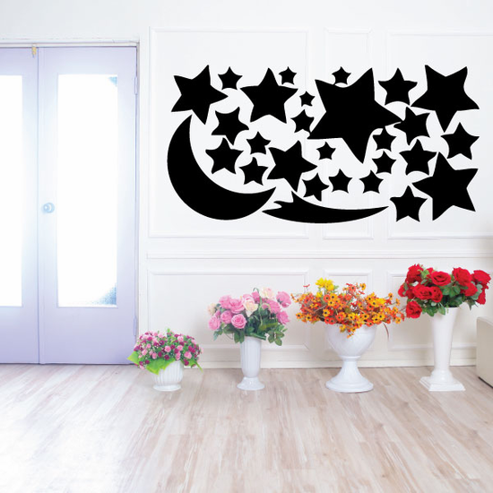 Moon and Stars Wall Decals Kit