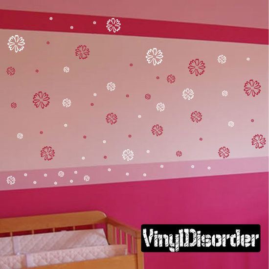 Outlined Flower Wall Decals Kit