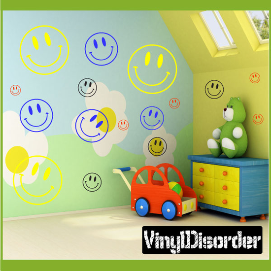 Happy Face Wall Decals Kit