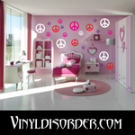 108 Peace Sign Wall Decals Kit