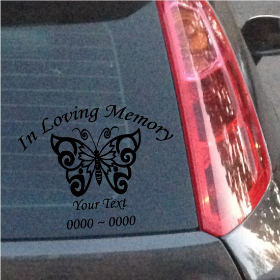 Butterfly Custom In Loving Memory Decal
