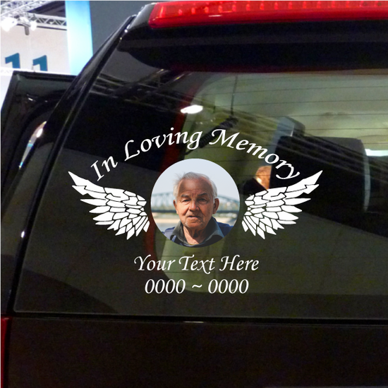 Custom In Loving Memory Decal with a Photo Inlay and Wings