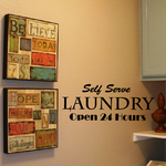 Self serve Laundry open 24 hours Wall Decal