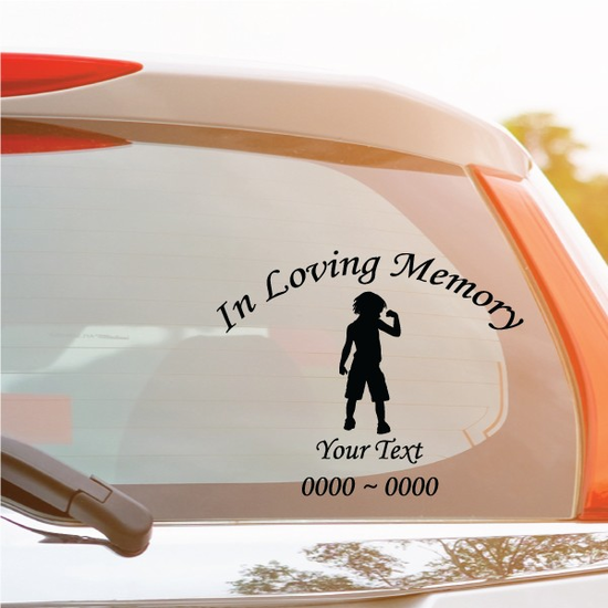 Young Boy Custom In Loving Memory Decal