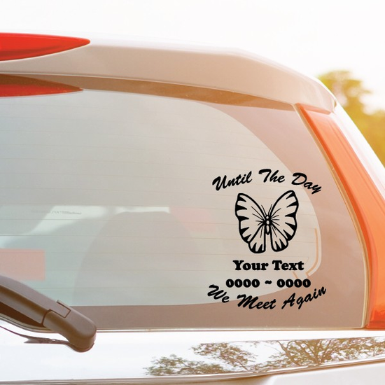 Classic Butterfly Custom In Loving Memory Decal