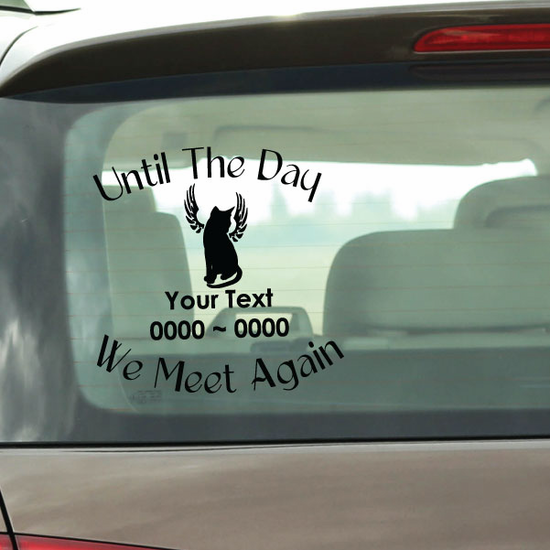 Sitting Cat with Wings Custom In Loving Memory Decal
