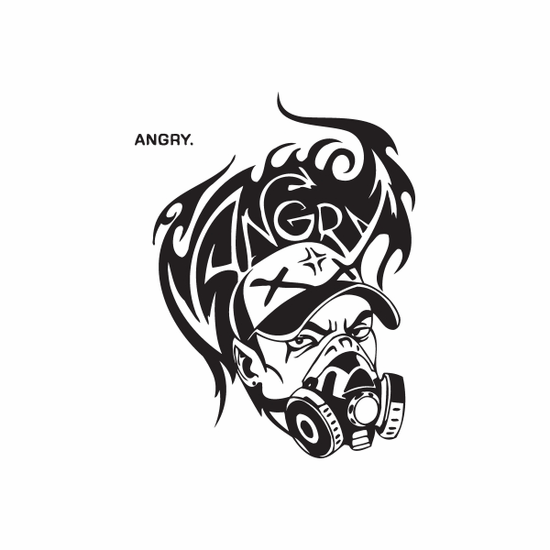 Angry Tagger in Gas Mask Graffiti Decal