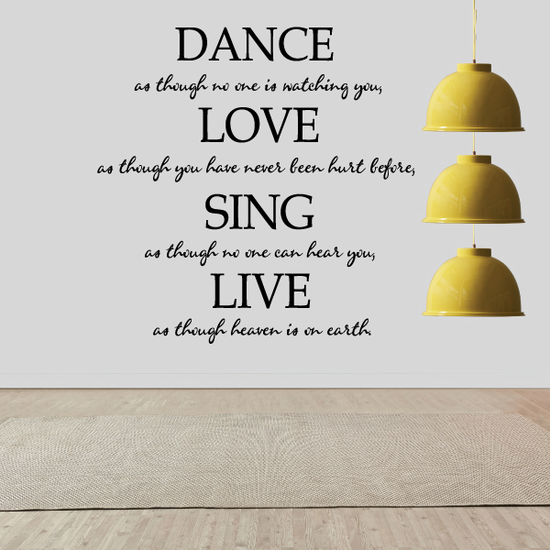 Dance Love Sing Live Sports Vinyl Wall Decal Sticker Mural Quotes Words D001DanceasV
