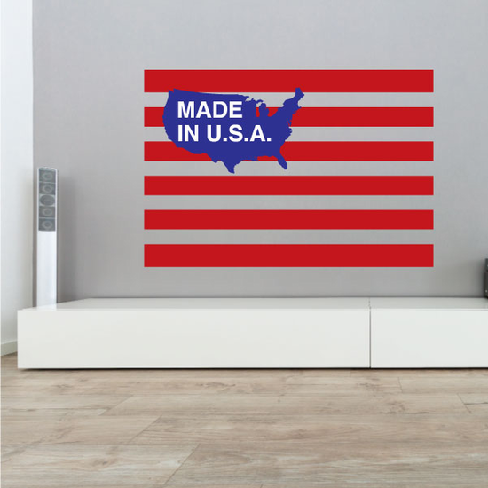 Made in the USA Striped Printed Die cut Decal