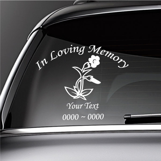 Blooming Flowers Custom In Loving Memory Decal
