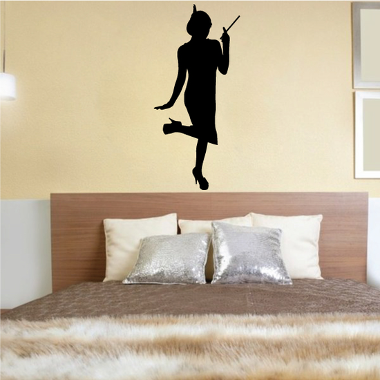 Flapper Girl Wall Decal - Vinyl Decal - Car Decal - Vd011