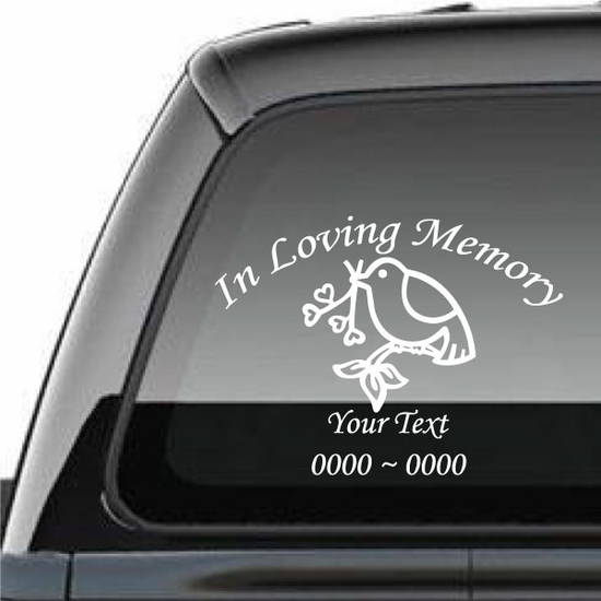 Dove with Hearts Brance Custom In Loving Memory Decal