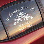 Doves on Hearts Custom In Loving Memory Decal