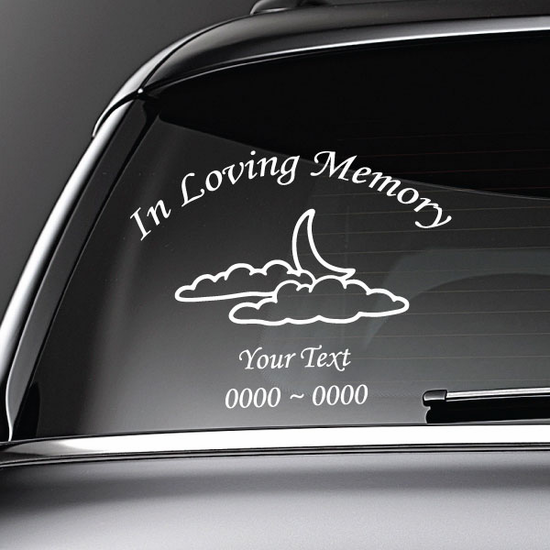 Moon and Clouds Custom In Loving Memory Decal