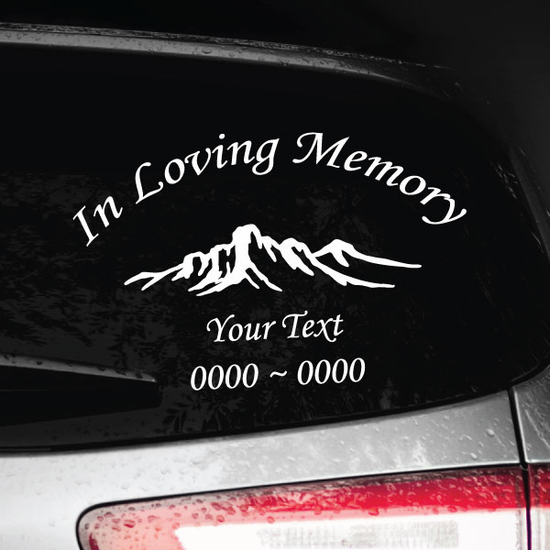 Mountain Plateau Custom In Loving Memory Decal