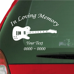 Electric Guitar Custom In Loving Memory Decal