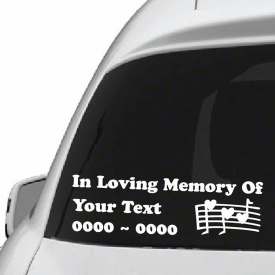 Heart Music Notes Custom In Loving Memory Decal