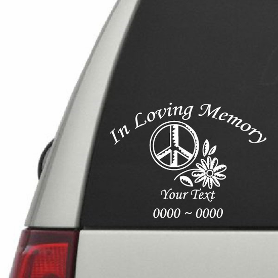 Peace Sign with Flower Custom In Loving Memory Decal